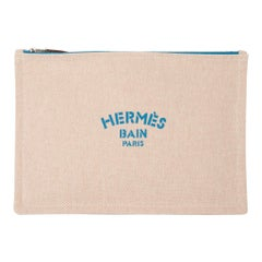 Hermes Bain Flat Yachting Pouch Case Natural w/ Turquoise  Writing Cotton Large