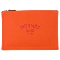 Hermes Bain Flat Yachting Pouch Case Orange Cotton Small