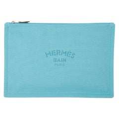 Hermes Bain Flat Yachting Pouch Case Turquoise Blue Cotton Large