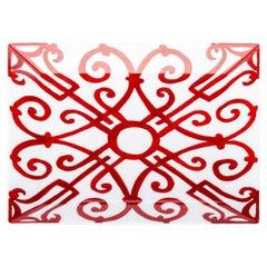 Hermes Balcon Red & White Porcelain Dish