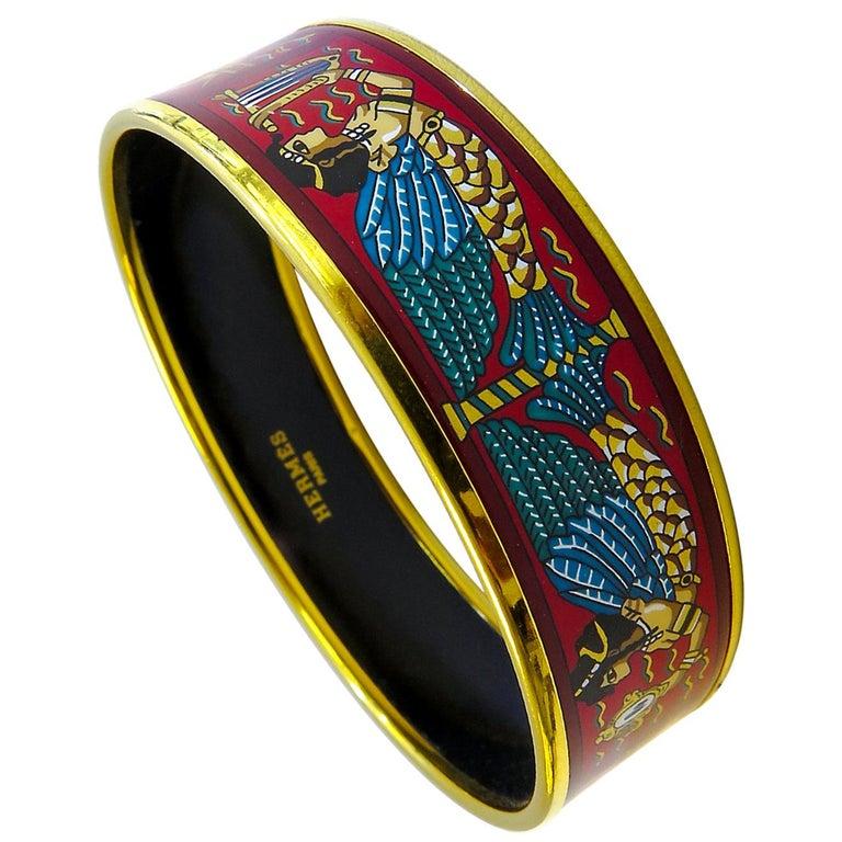 Hermes Bangle 18 Karat Gold-Plated Printed Enamel For Sale