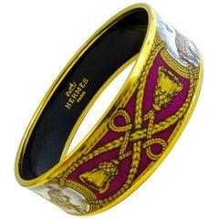 Hermes Bangle 18 Karat Gold Plated Printed Enamel Horse Pattern