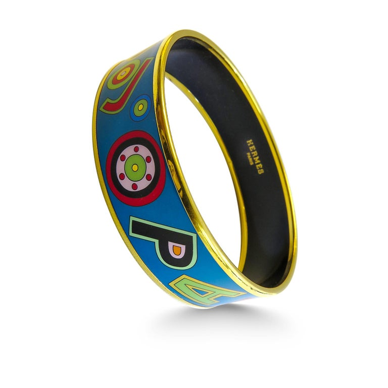 Artist Hermes Bangle 18 Karat Gold Plated Printed Enamel For Sale