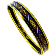 Hermes Bangle 18 Karat Gold-Plated Printed Enamel
