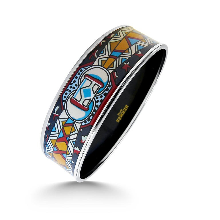 Hermes Bangle Platinum Plated Printed Enamel In Excellent Condition For Sale In Jackson Heights, NY