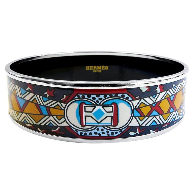 Hermes Bangle Platinum Plated Printed Enamel For Sale