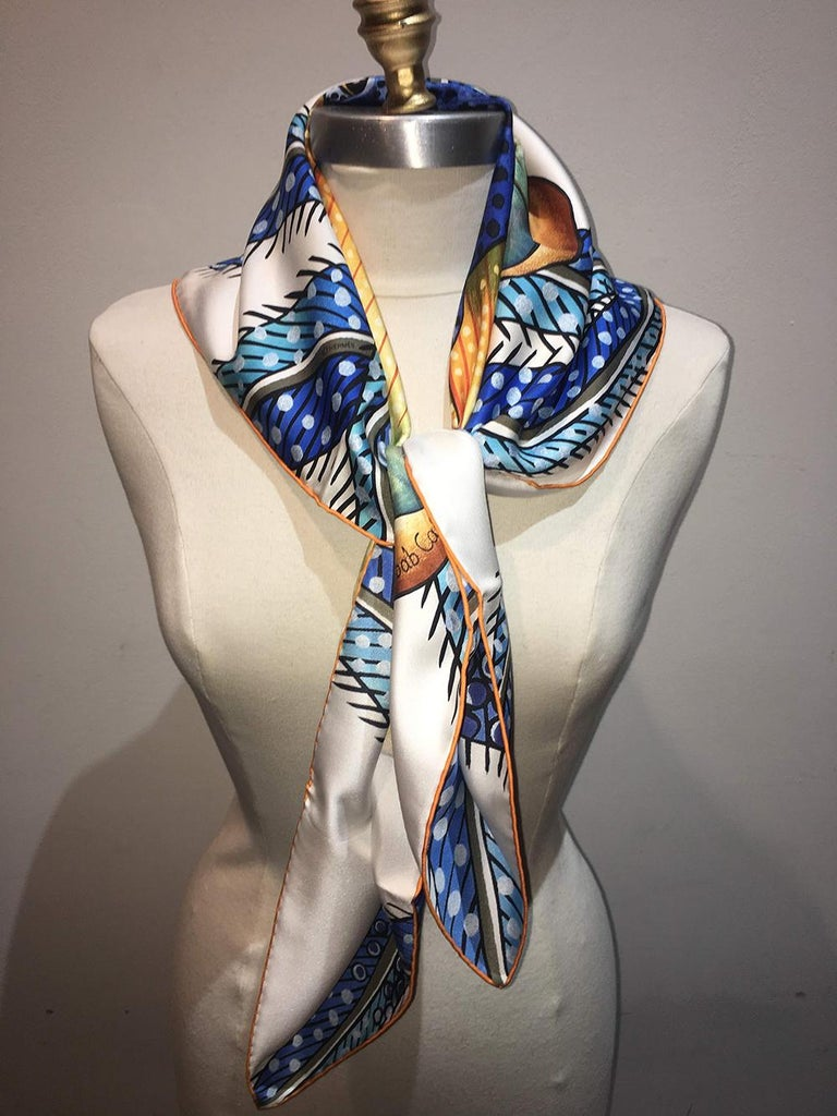 Hermes Baobab Cat Silk Scarf in Blue and White  In Excellent Condition For Sale In Philadelphia, PA
