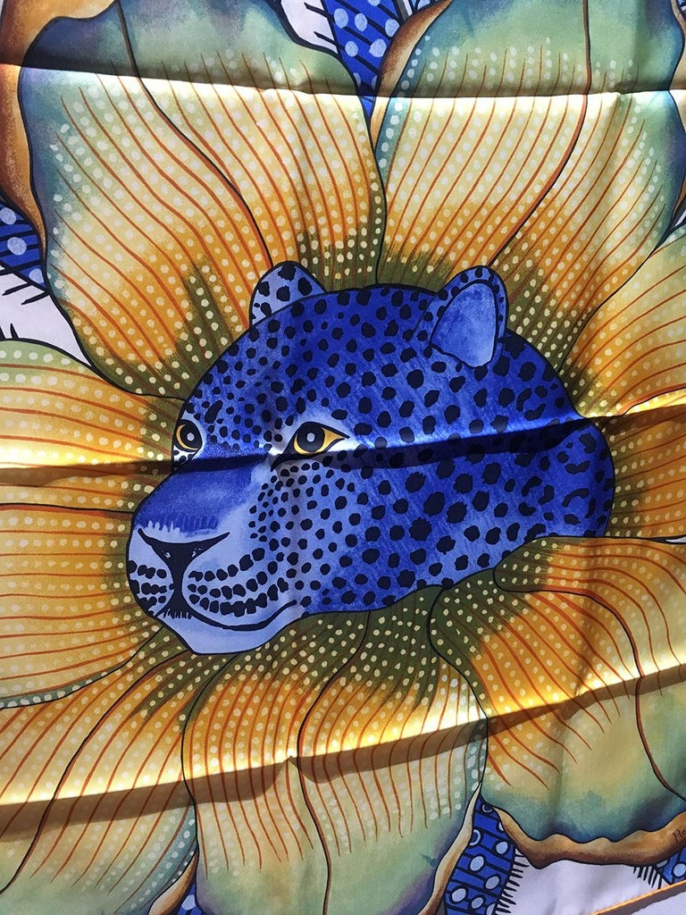 Hermes Baobab Cat Silk Scarf in Blue and White  For Sale 4