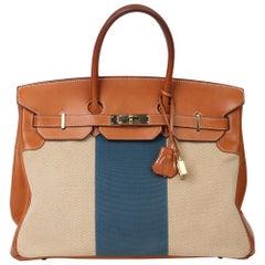 Hermès Barenia Leather & Blue, Beige Canvas Flag Birkin 35cm