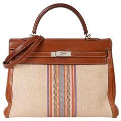 Hermès Barenia Leather & Multicolour Toile Indian Ganges Kelly 35cm Retourne