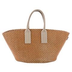 Hermes Basket Weave Tote Woven Jute Small