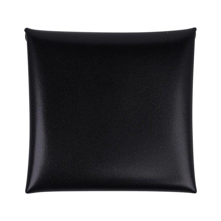 Hermes Bastia Change Purse Black Box Leather New w/ Box In New Condition For Sale In Miami, FL