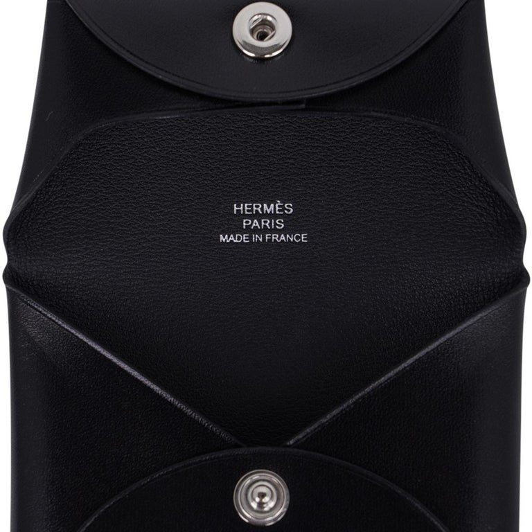 Women's Hermes Bastia Change Purse Black Box Leather New w/ Box For Sale