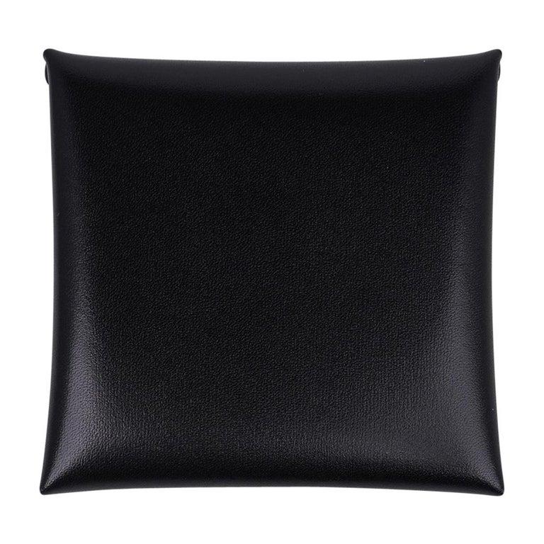 Hermes Bastia Change Purse Black Box Leather New w/ Box For Sale 2