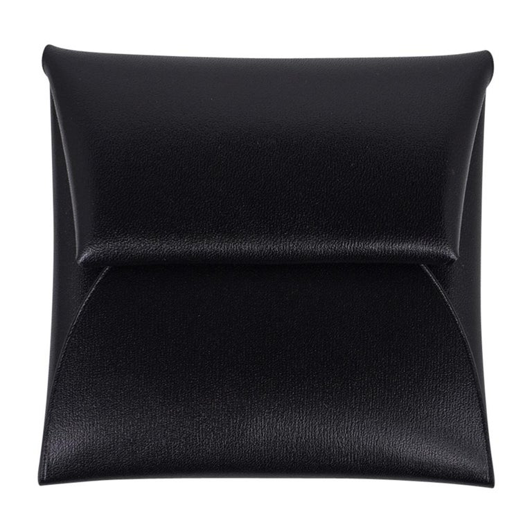 Hermes Bastia Change Purse Black Box Leather New w/ Box For Sale 3