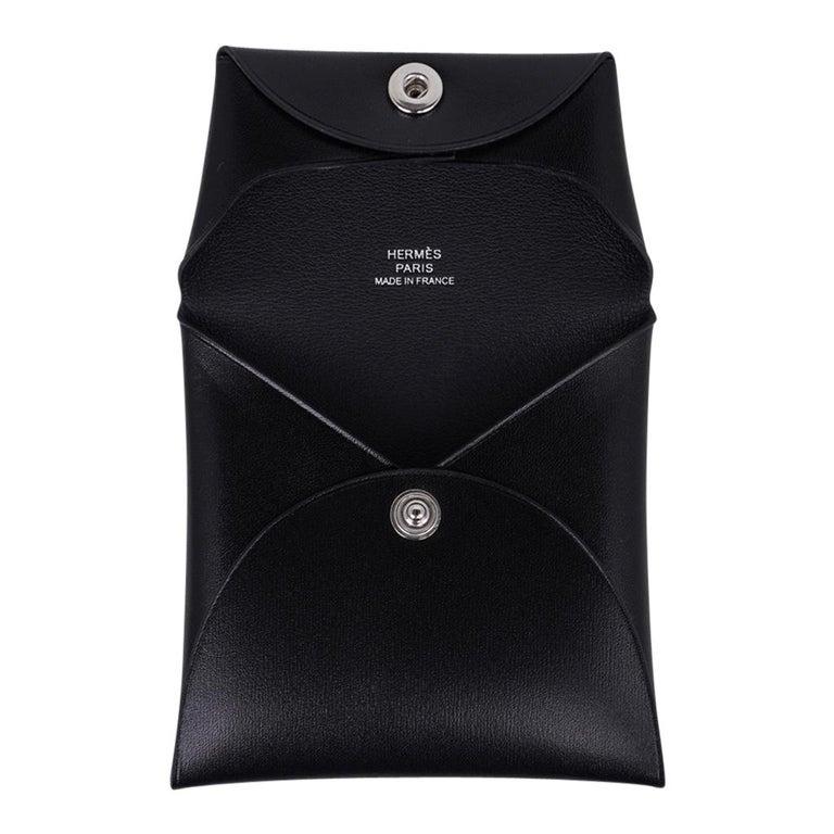Hermes Bastia Change Purse Black Box Leather New w/ Box For Sale 4