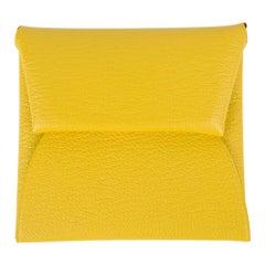 Hermes Bastia Change Purse Jaune de Naples Chevre Leather New
