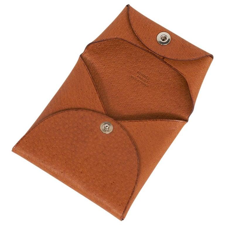 Brown Hermes Bastia Change Purse Peau Porc Leather New w/ Box For Sale