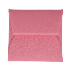 Hermes Bastia Verso Change Purse Rose Confetti / Brique Chevre Leather