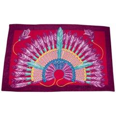 Hermes Beach Towel Tapis de Plage Brazil Jaune / Citron / Rose Hibiscus New