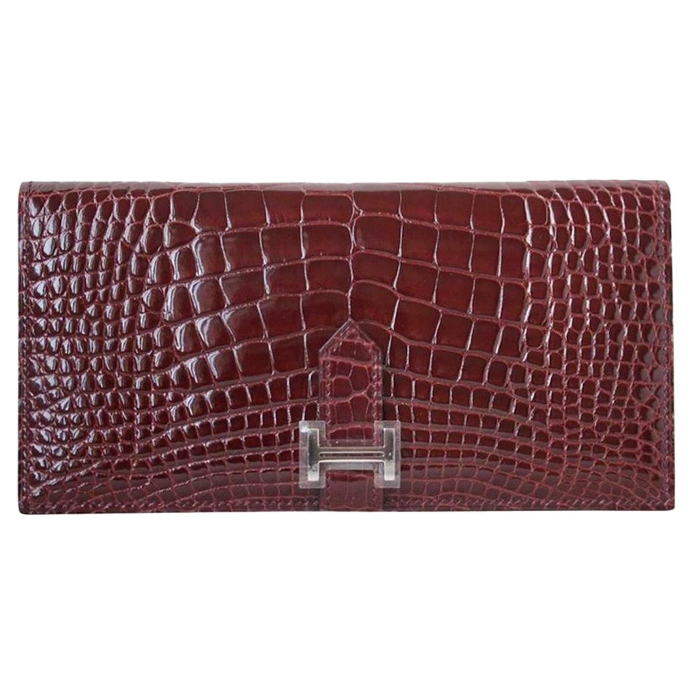 Hermès Bearn Crocodile Wallet