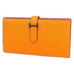 HERMES Bearn Soufflet unisex long wallet apricot x rose azalee silver hardware