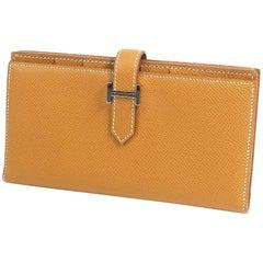 HERMES Bearn Soufflet unisex long wallet gold x silver hardware