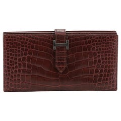 Hermes Bearn Wallet Matte Alligator Long