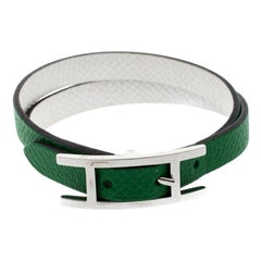 Hermes Behapi Green and White Leather Reversible Double Tour Bracelet XS