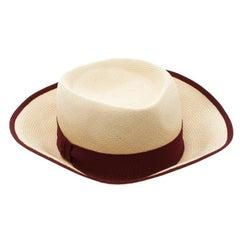 Hermes Beige Basket Weave Maroon Ribbon Detail Panama Hat Size 58