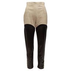 Hermes Beige & Black Suede & Leather Riding Pants