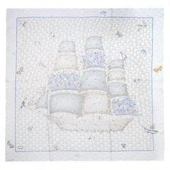 Hermes Beige/Blue Bateau Fleuri Ship Print Silk Scarf