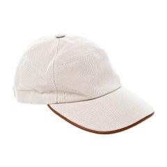 Hermes Beige Cotton Leather Trim Nevada Baseball Cap Size 58