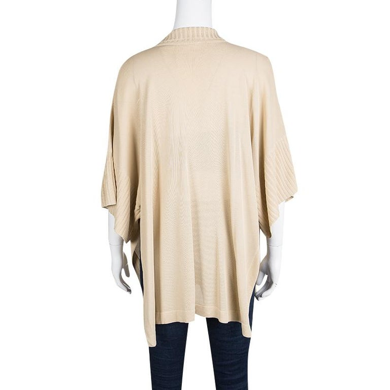Hermes Beige Knit Open Side Detail Oversized Top L In Good Condition For Sale In Dubai, AE