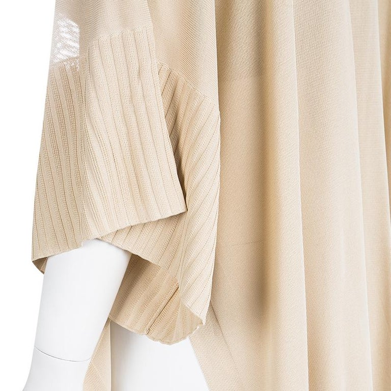 Women's Hermes Beige Knit Open Side Detail Oversized Top L For Sale