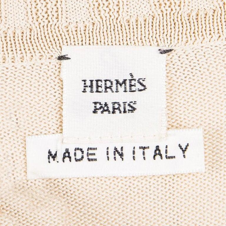 Hermes Beige Knit Open Side Detail Oversized Top L For Sale 2