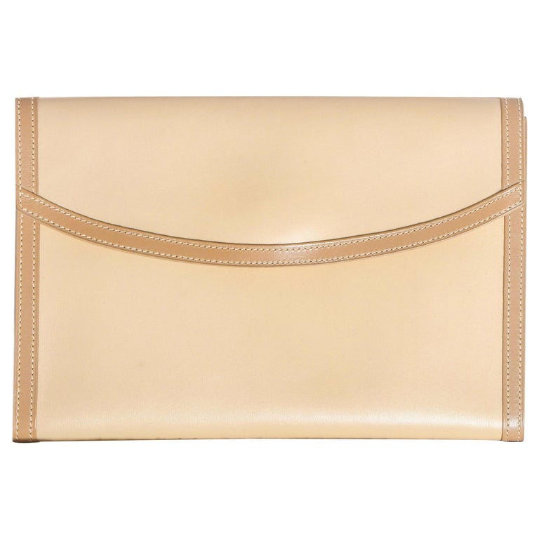 Hermes Beige Leather Envelope Evening Flap Clutch Bag With Tan Trim For Sale