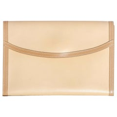 Hermes Beige Leather Envelope Evening Flap Clutch Bag With Tan Trim
