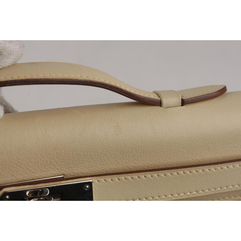 Hermes Beige Leather Kelly Cut Clutch Bag Pochette For Sale 8