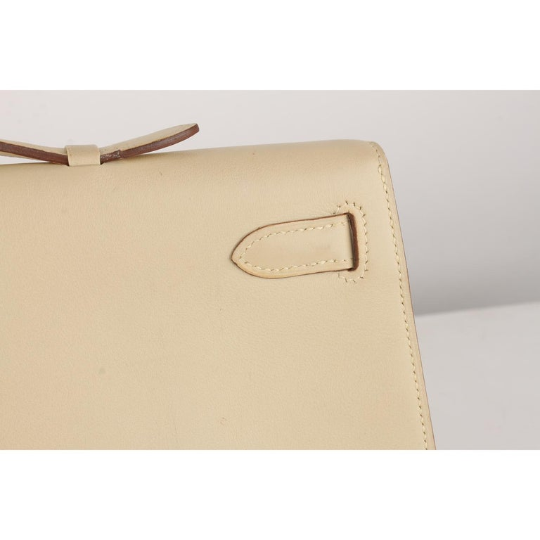 Hermes Beige Leather Kelly Cut Clutch Bag Pochette For Sale 1