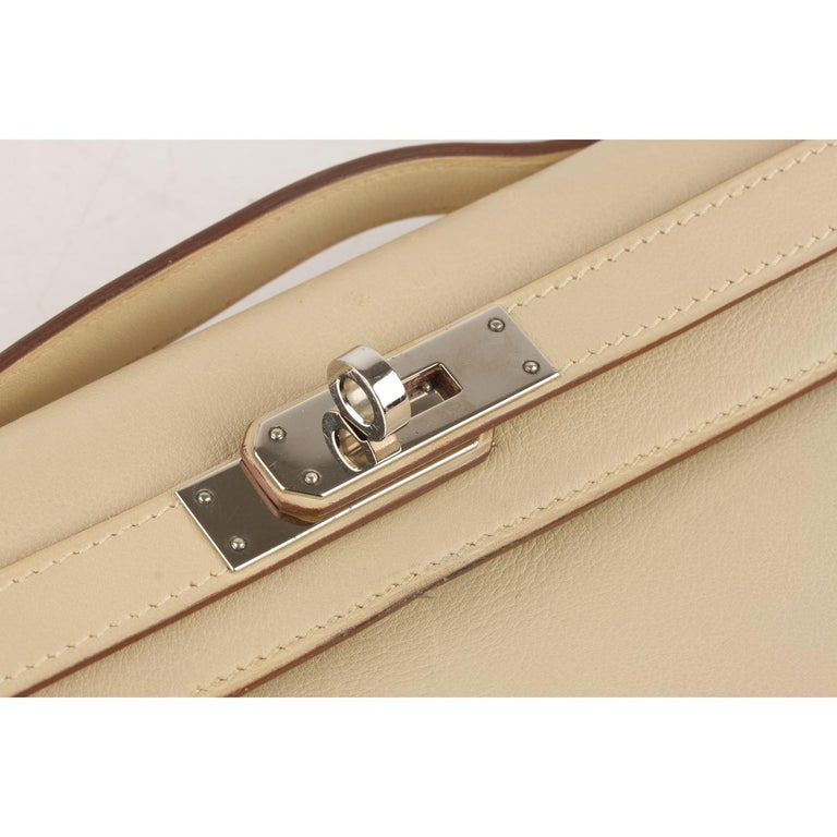 Hermes Beige Leather Kelly Cut Clutch Bag Pochette For Sale 2