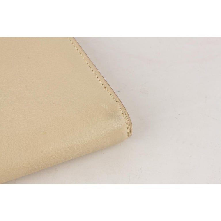 Hermes Beige Leather Kelly Cut Clutch Bag Pochette For Sale 3