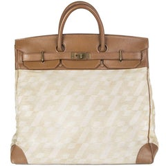 HERMES beige MONOGRAM CANVAS leather VINTAGE HAUT A COURROIES 40 HAC BIRKIN Bag