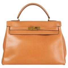 HERMES beige Natural Box leather KELLY 32 RETOURNE Bag