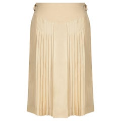 Hermes Beige Natural Silk and Leather Accordion Pleat Skirt