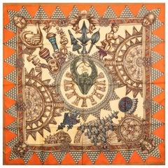 HERMES beige orange L'OR DES CHEFS 90 silk twill Scarf