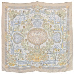 Hermes Beige/ Pastel Decoupages 90cm Silk Scarf
