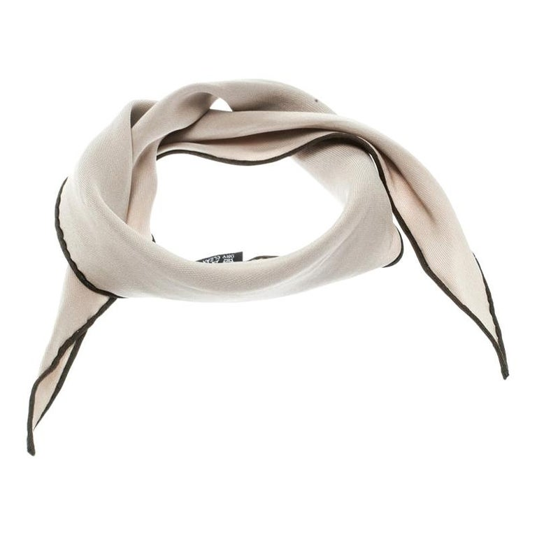Hermes Beige Silk Contrast Edged Logo Print Mini Losange Scarf For Sale