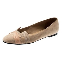 Hermes Beige Suede And Crystal Powder Nice Ballet Flats Size 38