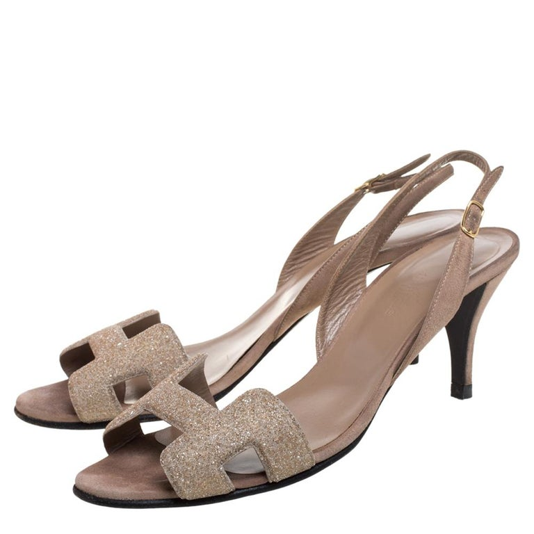 Hermes Beige Suede Night Crystal Powder Ankle Strap Sandals Size 38 1